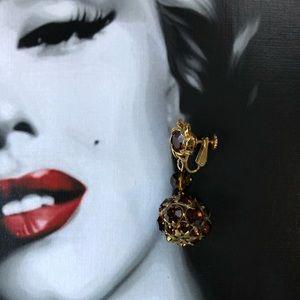 🌵 Vintage Cognac Crystal Clip On Earrings